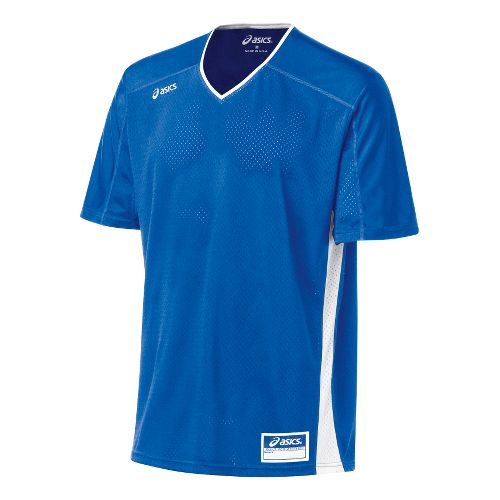 Mens ASICS Tango Jersey Short Sleeve Technical Tops - Royal/White L