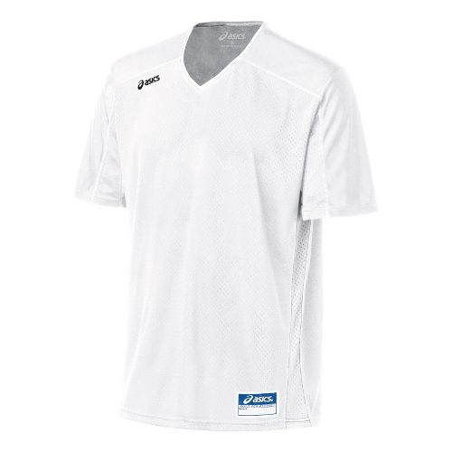 Mens ASICS Tango Jersey Short Sleeve Technical Tops - White/White 2X