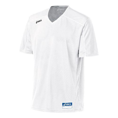 Mens ASICS Tango Jersey Short Sleeve Technical Tops - White/White L