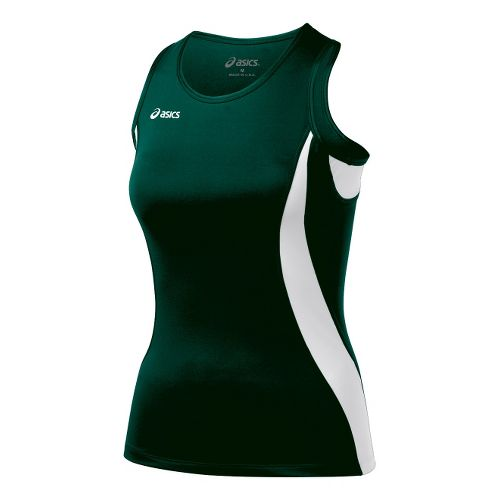 Womens ASICS Trial Shimmel Singlets Technical Tops - Forest/White XL