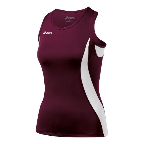 Womens ASICS Trial Shimmel Singlets Technical Tops - Maroon/White S