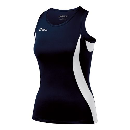 Womens ASICS Trial Shimmel Singlets Technical Tops - Navy/White L