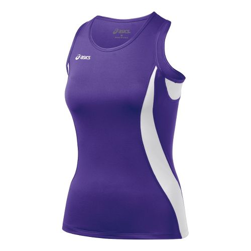 Womens ASICS Trial Shimmel Singlets Technical Tops - Purple/White 2X