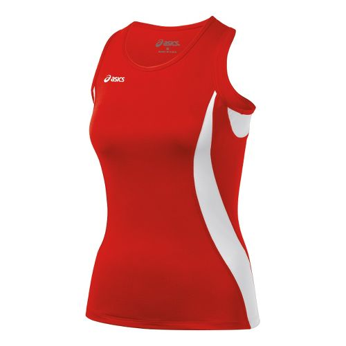 Womens ASICS Trial Shimmel Singlets Technical Tops - Red/White L