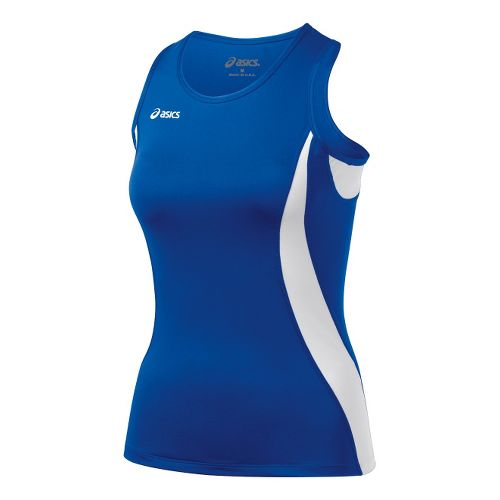 Womens ASICS Trial Shimmel Singlets Technical Tops - Royal/White 2X