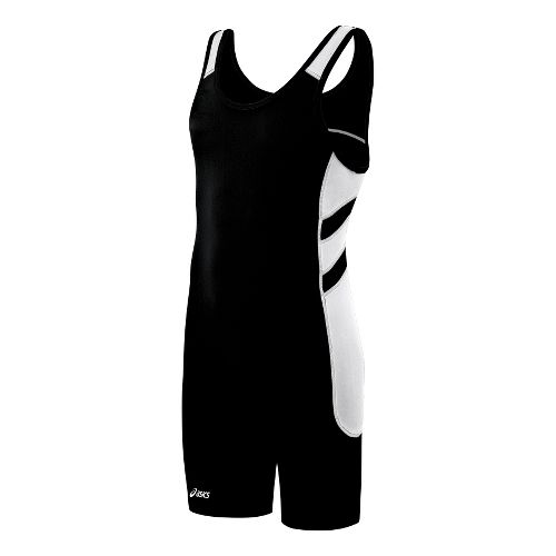 Mens ASICS Unrestrained Wrestling Singlet UniSuits - Black/White XXL
