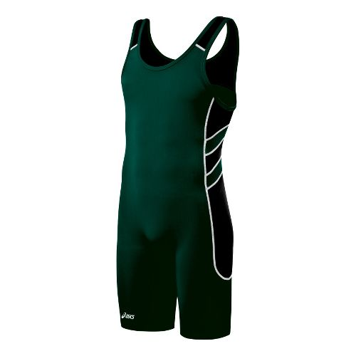 Mens ASICS Unrestrained Wrestling Singlet UniSuits - Forest/Black XS