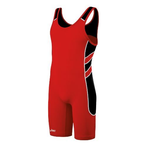 Mens ASICS Unrestrained Wrestling Singlet UniSuits - Red/Black XXS