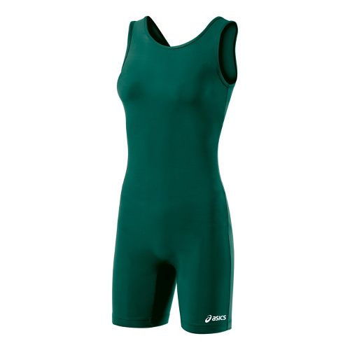 Womens ASICS Solid Modified Singlet Wrestling UniSuits - Forest XL