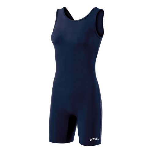 Womens ASICS Solid Modified Singlet Wrestling UniSuits - Navy XS