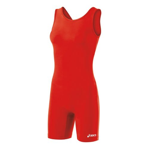 Womens ASICS Solid Modified Singlet Wrestling UniSuits - Red L