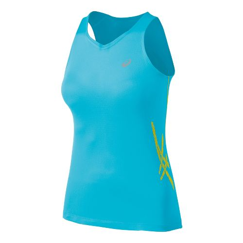 Womens ASICS Speed Singlets Technical Tops - Aquarium/Blazing Yellow L
