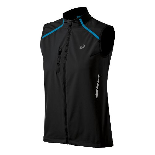 Womens ASICS Speed Windstopper Running Vests - Performance Black/Aquarium L