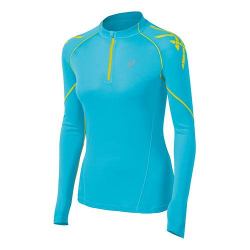 Womens ASICS Speed Long Sleeve 1/2 Zip Technical Tops - Aquarium/Blue Yonder XL