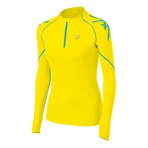Womens ASICS Speed Long Sleeve 1/2 Zip Technical Tops - Blue Yonder/Aquarium XL