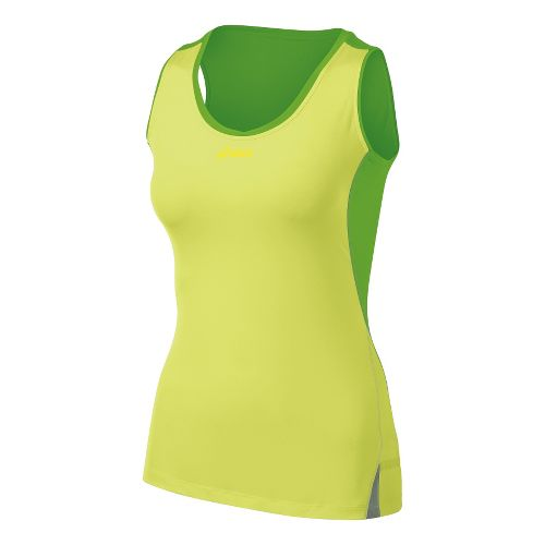 Womens ASICS Fuji Sleeveless Tanks Technical Tops - Pistachio/Chive XL