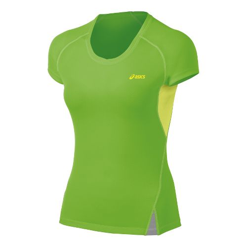 Womens ASICS Fuji Light Top Short Sleeve Technical Tops - Chive/Pistachio M