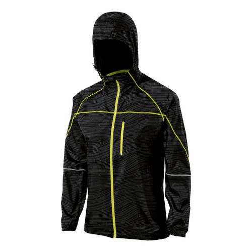 Womens ASICS Fuji Packable Running Jackets - Black Wood Print M