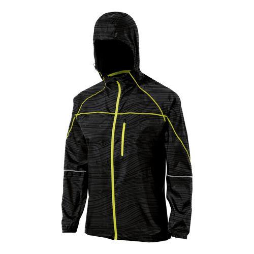 Womens ASICS Fuji Packable Running Jackets - Black Wood Print XS