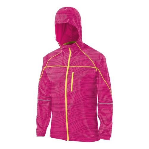 Womens ASICS Fuji Packable Running Jackets - Magenta Wood Print L