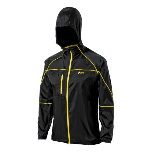 Womens ASICS Fuji Packable Running Jackets - Performance Black/Chive L