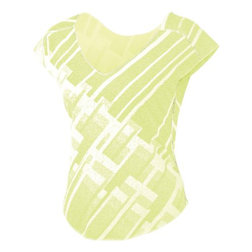 Womens ASICS Tessa Burnout Cap Short Sleeve Technical Tops - Sunny Lime S