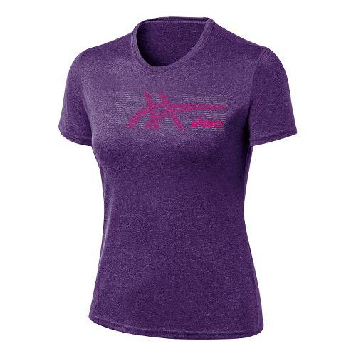 Womens ASICS Streaked Tee Short Sleeve Technical Tops - Berry Heather XL