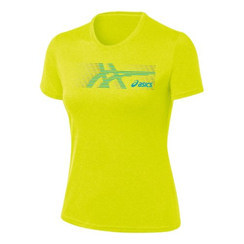 Womens ASICS Streaked Tee Short Sleeve Technical Tops - Electric Lime L