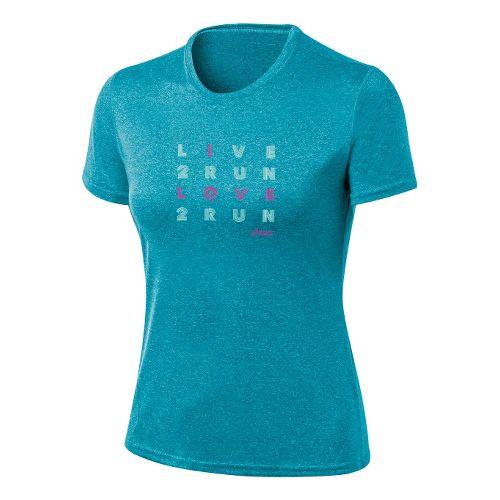 Womens ASICS Love2Run Tee Short Sleeve Technical Tops - Bondi Heather L