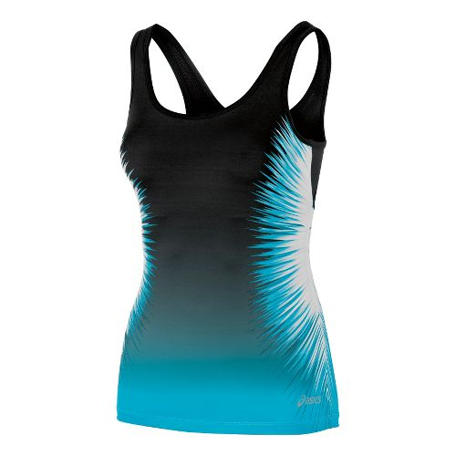 Womens ASICS Performance Fun Starburst Tank Sport Top Bras - Bluebird XS