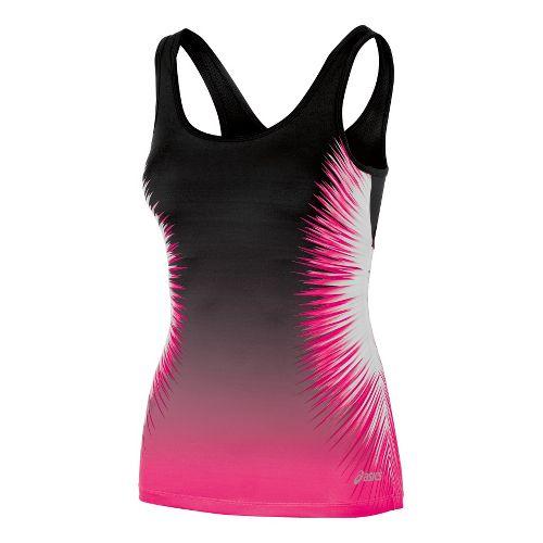 Womens ASICS Performance Fun Starburst Tank Sport Top Bras - PinkGlo XL