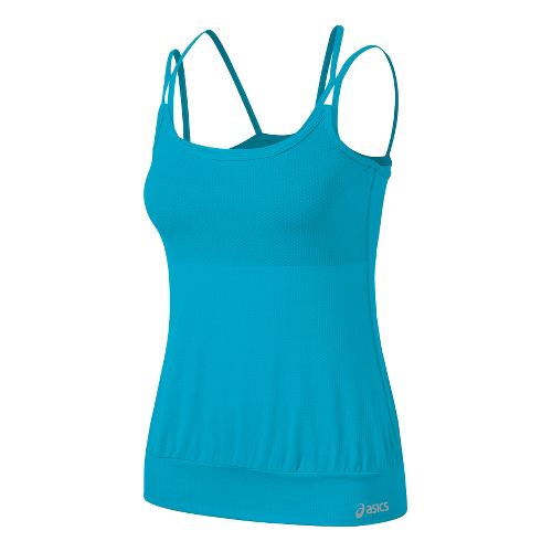Womens ASICS Performance Fun Versatility Tank Sport Top Bras - Bluebird XS