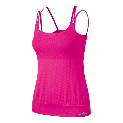 Womens ASICS Performance Fun Versatility Tank Sport Top Bras - PinkGlo XL
