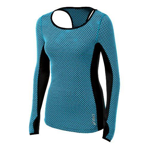 Womens ASICS Performance Fun Long Sleeve No Zip Technical Tops - Bluebird XL