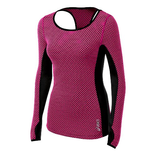 Womens ASICS Performance Fun Long Sleeve No Zip Technical Tops - PinkGlo S