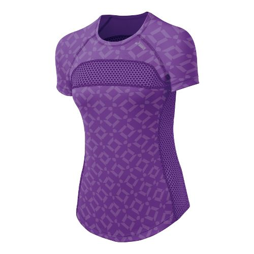 Womens ASICS Abby Tee Short Sleeve Technical Tops - Electric Purple XL