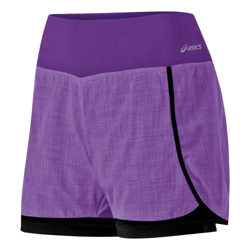 Womens ASICS Pure 2-in-1 Shorts - Electric Purple M