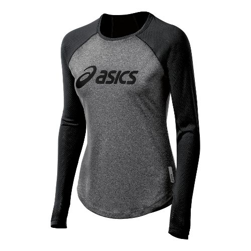 Womens ASICS Pure Tee Long Sleeve No Zip Technical Tops - Black L