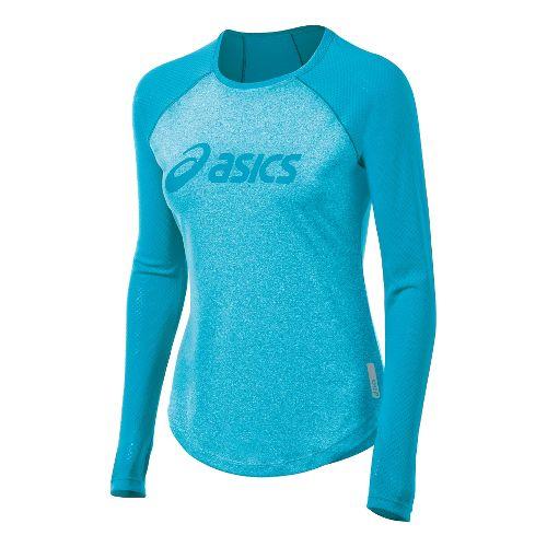 Womens ASICS Pure Tee Long Sleeve No Zip Technical Tops - Bluebird M