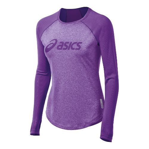 Womens ASICS Pure Tee Long Sleeve No Zip Technical Tops - Electric Purple L