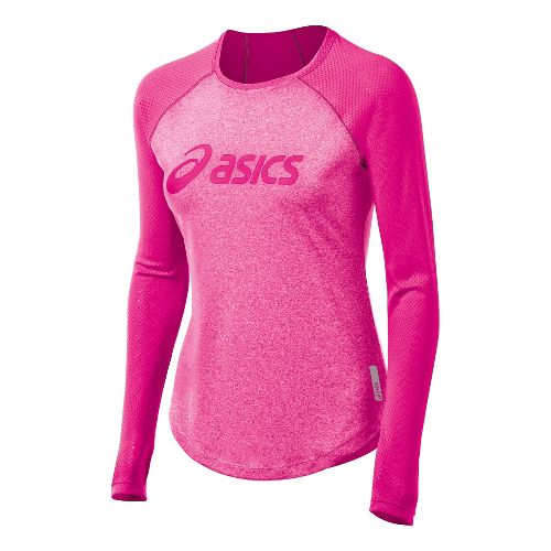 Womens ASICS Pure Tee Long Sleeve No Zip Technical Tops - PinkGlo XS