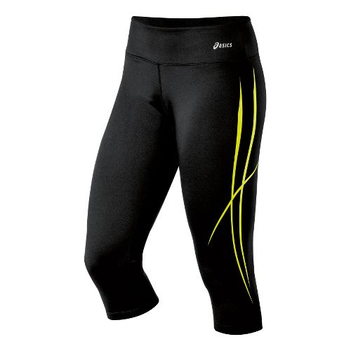 Womens ASICS Pure Capri Tights - Electric Lime XS