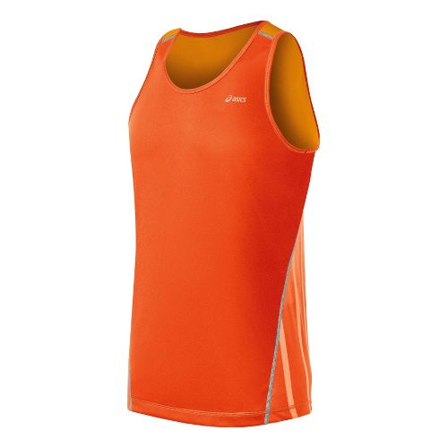 Mens ASICS Lite-Show Favorite Singlets Technical Tops - Radiant/Fuel M