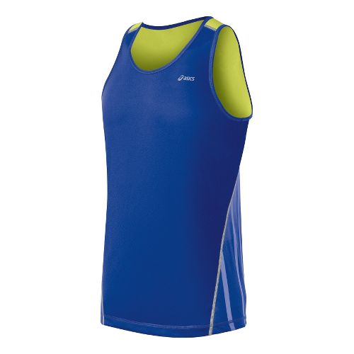 Mens ASICS Lite-Show Favorite Singlets Technical Tops - Surf/Sunny Lime XL