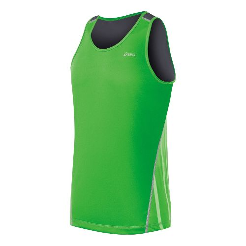 Mens ASICS Lite-Show Favorite Singlets Technical Tops - Track/Steel M