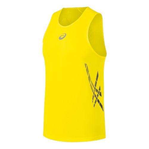 Mens ASICS Speed Singlets Technical Tops - Blazing Yellow M