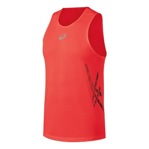 Mens ASICS Speed Singlets Technical Tops - Fiery Flame S