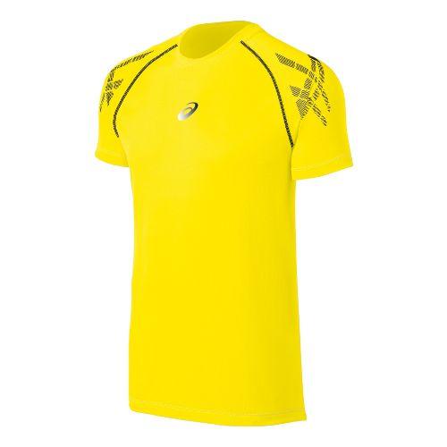 Mens ASICS Speed Short Sleeve Technical Tops - Blazing Yellow XL