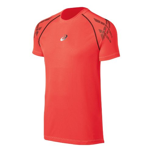 Mens ASICS Speed Short Sleeve Technical Tops - Fiery Flame S