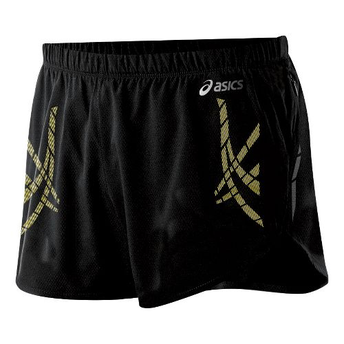 Mens ASICS Speed Lined Shorts - Performance Black/Blazing Yellow S